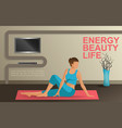 young woman practicing yoga at home vector image vector image