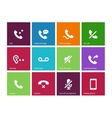 Call and handset icons on color background vector image
