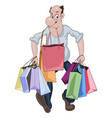 cartoon man walking with a lots of shop bags vector image