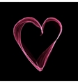 Abstract pink heart on black background vector image vector image