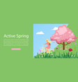 active spring and lifestyle girl riding on bicycle vector image