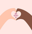 african and american hands make heart on valentine vector image vector image
