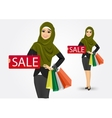 arabic woman with shopping bags vector image vector image