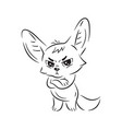 black and white a funny fennec fox looking vector image vector image