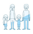 blue silhouette shading caricature family group vector image vector image