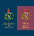 christmas mistletoe poster vector image vector image