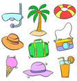 collection stock of summer object doodles colorful vector image vector image