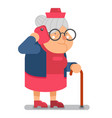 communication granny with smartphone talking old vector image