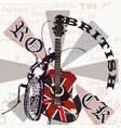 creative grunge flyer gb flag and acoustic guitar vector image