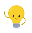 cute smiling happy light bulb have idea vector image