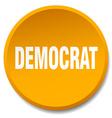 democrat orange round flat isolated push button vector image vector image
