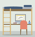 Flat Design Empty Bunk Bed With Workspace vector image vector image