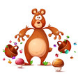 funny cute crazy bear collects berries cartoon vector image
