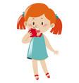 girl in blue dress eating apple vector image