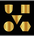 gold shape or emblem set in 3d golden style vector image