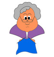 grandmother knitting on white background vector image