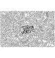 Hand drawn doodle cartoon set winter