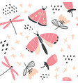 hand drawn floral pattern with butterflies vector image