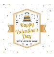 happy valentines day with lots of love stamp vector image vector image