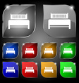 Hotel bed icon sign Set of ten colorful buttons vector image vector image