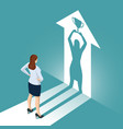 isometric businesswoman watches his shadow and vector image