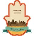 Jerusalem skyline inside hamsa hand vector image vector image