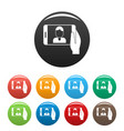 man take a selfie phone icons set color vector image