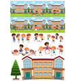 many children learning and playing at school vector image vector image