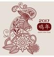 mehendi Rooster brown 2017 vector image vector image