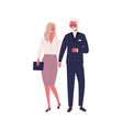 modern elderly couple holding hands and walking vector image vector image