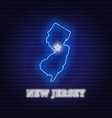 neon map state new jersey on a brick wall vector image vector image