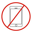 no cell phone sign on white background vector image