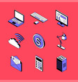 office and technology - isometric icons set vector image
