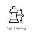outline digital strategy icon isolated black vector image vector image