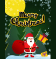 poster merry christmas santa claus on roof vector image
