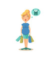 pregnant woman holding shopping bags vector image vector image
