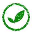 rubber stamp eco and bio green leaf vector image