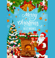 santa near fireplace with christmas gifts vector image vector image