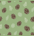 seamless pattern brown cones and coniferous vector image