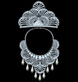 set jewelry crown and necklace with precious vector image vector image