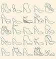 set of 25 fashionable line art shoes vector image