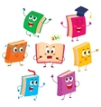 Set of funny book characters mascots cartoon vector image