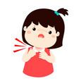 sick girl sore throat cartoon vector image vector image