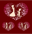 silhouettes of a boy and a princess with red vector image