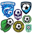 sports badge with a soccer ball and shark for the vector image vector image