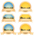 summer mountains banner and scroll ribbons vector image