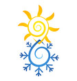 sun and snowflake abstract symbol vector image vector image