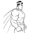 superhero side profile line art vector image vector image