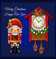 template christmas greeting card with nutcracker vector image
