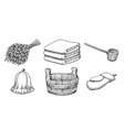 vintage sketch sauna items vector image vector image